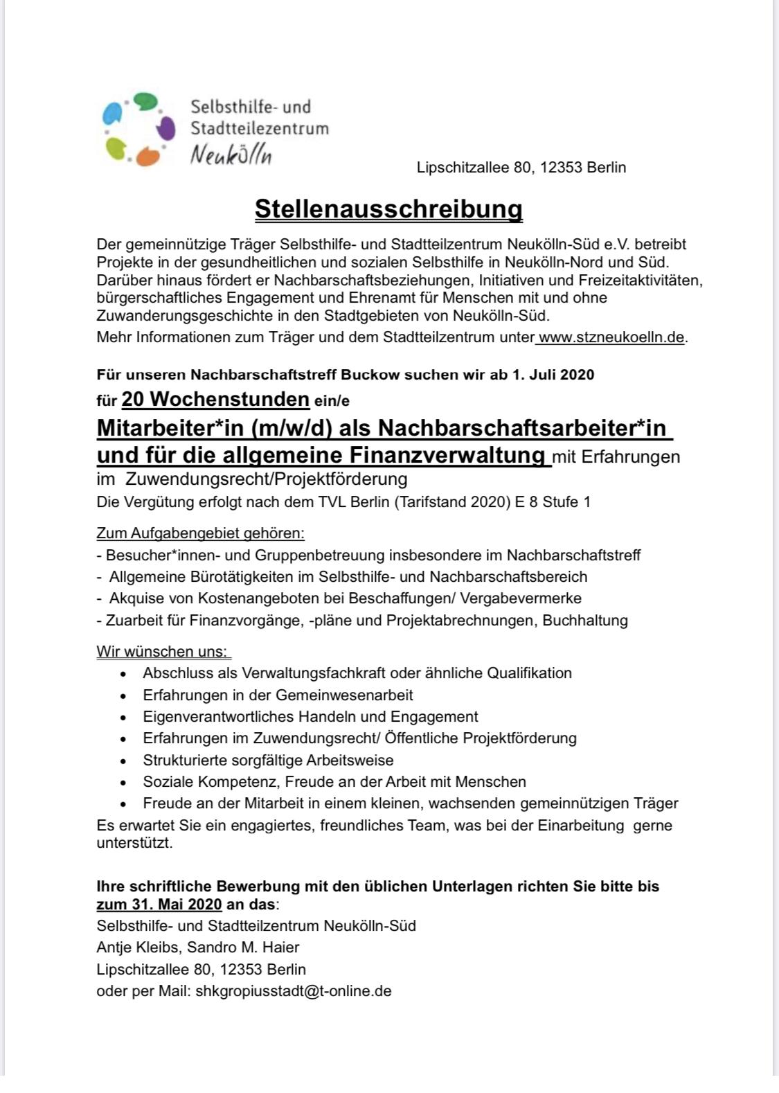 Berlin Stellenausschreibung