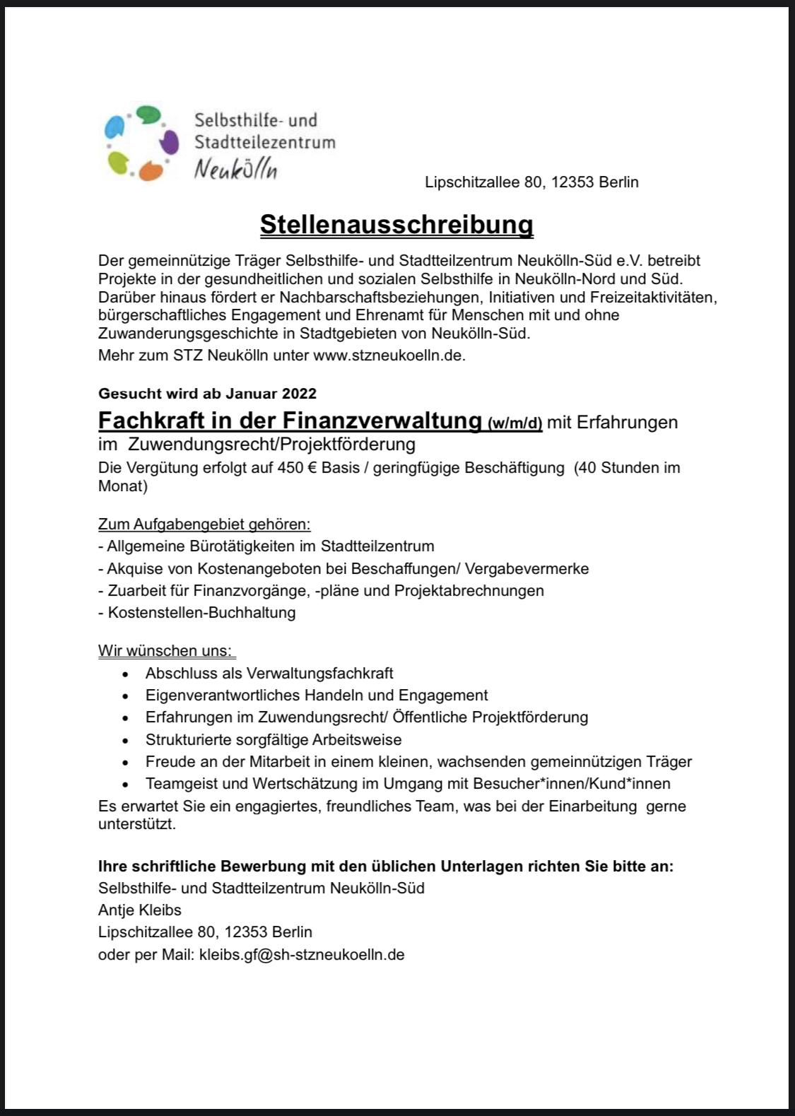 Stellenangebot 450€ Basis Finanzverwaltung